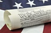 We The People - US Constitution and flag.