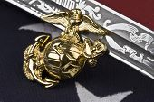 Marine Corps - symbols of freedom - insignia, sabre and flag.