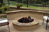 Custom home backyard fire-pit