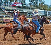 ESCONDIDO, CALIFORNIA - MAY 28: Cowboys participate in the Memorial Day Weekend Valley Center Stampe