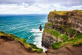 Cliffs Of Moher, Burren, County Clare, Ireland. Sea Cliffs Rise Above Atlantic Ocean. Branaunmore Se poster