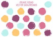 Vector Grunge Circles Isolated. Retro Stamp Texture Circle Scratched Label Backgrounds. Circular Tag poster