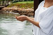 Crop Woman In Wet Blouse Avoiding Water Splash poster