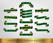 Collection of Green Ribbons and banners