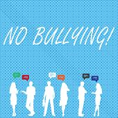 Handwriting Text No Bullying. Concept Meaning Forbidden Abuse Harassment Aggression Assault. poster