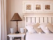 Bedroom scene in soft colors and light