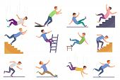 Set Of Falling Man Isolated. Falling From Chair Accident, Falling Down Stairs, Slipping, Stumbling F poster