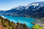 Lake Thun In Interlaken, Switzerland. A Beautiful Landscape In This City! If You Love Nature You Cer poster