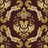 Classic Seamless Vector Pattern. Damask Orient Brown And Golden Ornament. Classic Vintage Background poster