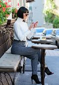 Call Friend. Leisure Concept. Girl Fashionable Lady With Smartphone. Woman Attractive Elegant Brunet poster