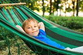 Happy Child Boy Lying In A Hammock In Garden. Summer Holidays Concept. The Child Is Resting In Natur poster