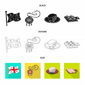 Vector Illustration Of Culture And Sightseeing Symbol. Set Of Culture And Originality Stock Symbol F poster