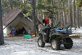 stock photo of tarp  - Elk hunting camp in the Big Horn Mountains in October