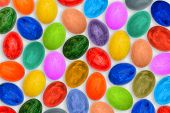 Multi-colored Eggs For Easter. A Variety Of Bright, Colorful Easter Eggs. Festive Background poster