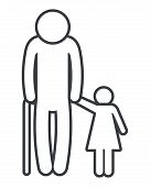Family Pictogram Old Man With Grandchild Cartoon Vector Illustration Graphic Design poster