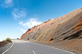 Road through the Muti-Layered Colorful Soil at Tenerife island, El Teide National Park, Spain