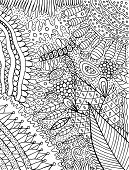 Coloring Page For Adults With Floral Cartoon Background. Doodle Ink Graphic Art For Adults. Vector I poster