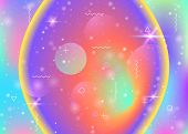 Universe Background With Galaxy And Cosmos Shapes And Star Dust. 3d Fluid With Magic Sparkles. Holog poster