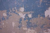 The Texture Of The Wall With Cracked Blue Paint. Cracked Wall Background poster