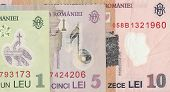 Romanian banknotes - 1 and 5 Romanian leu, the fragment.