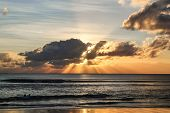 Sky Background. Indian Ocean. Bali. Indonesia. Sunset Over The Ocean. Waves For Surf poster