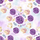 Seamless Watercolor Pattern With Blossom Rose And Feathers. Vintage Seamless Pattern With Rose. Wate poster