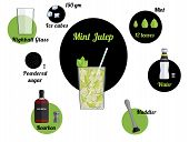 Alcoholic Popular Cocktail Mint Julep Recipe With Ingredients. Cocktail Infographic Set. Flat Vector poster