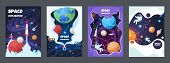 Cartoon Space Flyer. Universe Galaxy Banner Planet Science Poster Astronaut Poster Frame Brochure Co poster