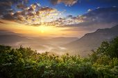 stock photo of appalachian  - Sunrise Blue Ridge Mountains Scenic Overlook Nantahala Forest Highlands NC in southern Appalachians Spring - JPG