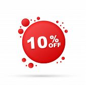 10 Percent  Off Sale Discount Banner. Discount Offer Price Tag. 10 Percent Discount Promotion Flat I poster