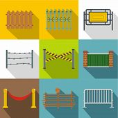 Fencing Modules Icon Set. Flat Style Set Of 9 Fencing Modules Icons For Web Design poster