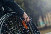 Close-up Of Male Hand On Wheel Of Wheelchair During Walk In Park. He Holds His Hands On The Wheel. poster