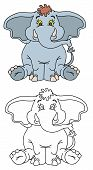 Coloring Pages For Childrens With Funny Animals, Funny Elephant poster
