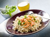 brown rice with shrimp and arugula pesto