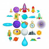 Universe Icons Set. Cartoon Set Of 25 Universe Icons For Web Isolated On White Background poster