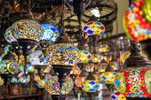 Variety of colorful turkey glass lamps for sale in Goreme, Cappadocia, Turkey. poster