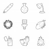 Light And Lighting Icons Set. Outline Set Of 9 Light And Lighting Icons For Web Isolated On White Ba poster