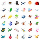 Touring Icons Set. Isometric Style Of 36 Touring Icons For Web Isolated On White Background poster