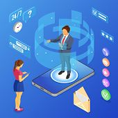 Online Isometric Customer Support Concept. Mobile Call Center With Man Consultant, Headset, Rating,  poster