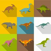 Different Dinosaurs Icon Set. Flat Style Set Of 9 Different Dinosaurs Icons For Web Design poster