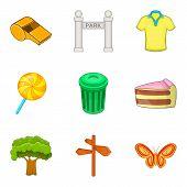 Outdoor Park Recreation Icon Set. Cartoon Set Of 9 Outdoor Park Recreation Icons For Web Design Isol poster