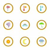 Climate Icons Set. Cartoon Set Of 9 Climate Icons For Web Isolated On White Background poster