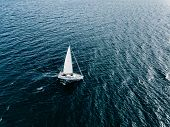 Aerial View Of Sailing Ship Yachts With White Sails  In Deep Blue Sea poster