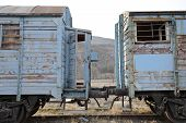 Abandoned Old Railway Wagons At Station, Old Train Wagons In An Abandoned Station poster