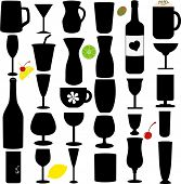 stock photo of milk-pint  - A Silhouette vector set of Bottle and Glass - JPG