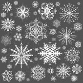 foto of ice crystal  - Snowflakes Christmas vector icons - JPG