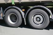 Big Blurred Lorry Wheels On The Move