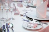 stock photo of wedding table decor  - Table setting for a wedding dinner with gift box - JPG