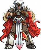 stock photo of armor suit  - Crusader knight with huge sword - JPG