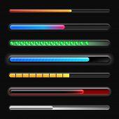 Set of progress bars on black background. Vector loading bars